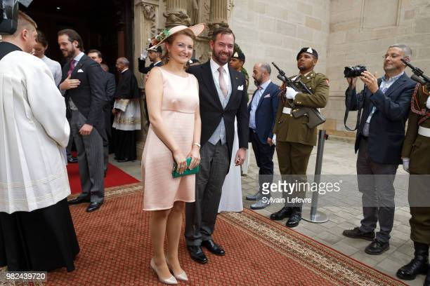 Prince Guillaume of Luxembourg and Princess Stephanie leave Notre Dame du Luxembourg cathedral after attending Te Deum for National Day on June 23...