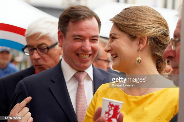 Prince Guillaume of Luxembourg and Princess Stephanie of Luxembourg visit Esch-sur-Alzette for National Day on June 22, 2019 in Luxembourg,...