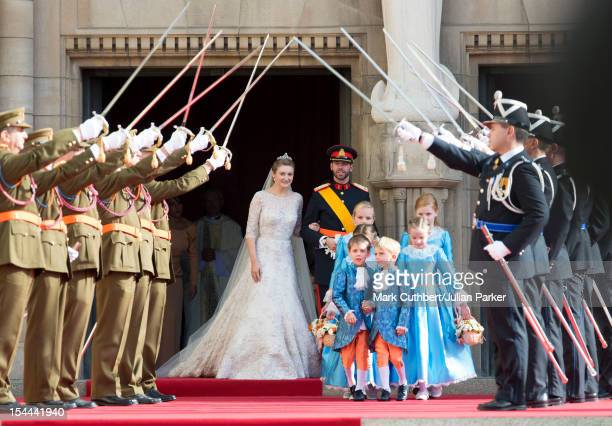 Prince Guillaume Of Luxembourg and Princess Stephanie of Luxembourg leave the Cathedral of our Lady of Luxembourg after their wedding on October 20...
