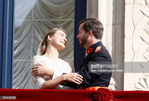 Prince Guillaume Of Luxembourg and Princess Stephanie of Luxembourg on the balcony of the Royal Palace after their wedding ceremony at the Cathedral...
