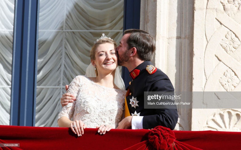 Prince Guillaume Of Luxembourg and Princess Stephanie of Luxembourg on the balcony of the Royal Palace after their wedding ceremony at the Cathedral of our Lady of Luxembourg on October 20, 2012 in Luxembourg, Luxembourg. The 30-year-old hereditary Grand Duke of Luxembourg is the last hereditary Prince in Europe to get married, marrying his 28-year-old Belgian Countess bride in a lavish 2-day ceremony.