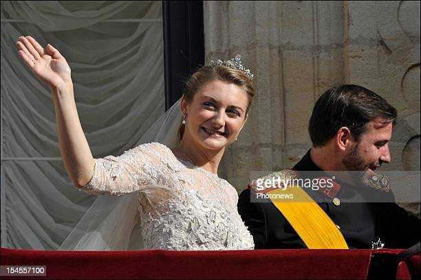 Prince Guillaume Of Luxembourg and Princess Stephanie of Luxembourg on the balcony of the GrandDucal Palace after the wedding ceremony of Prince...