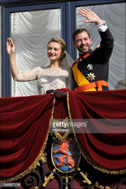 Prince Guillaume Of Luxembourg and Princess Stephanie of Luxembourg on the balcony of the Grand-Ducal Palace after the wedding ceremony of Prince...