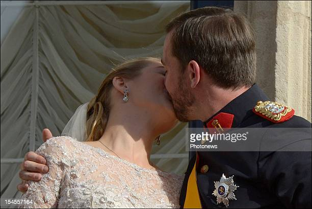 Prince Guillaume Of Luxembourg and Princess Stephanie of Luxembourg kiss on the balcony of the GrandDucal Palace after the wedding ceremony of Prince...