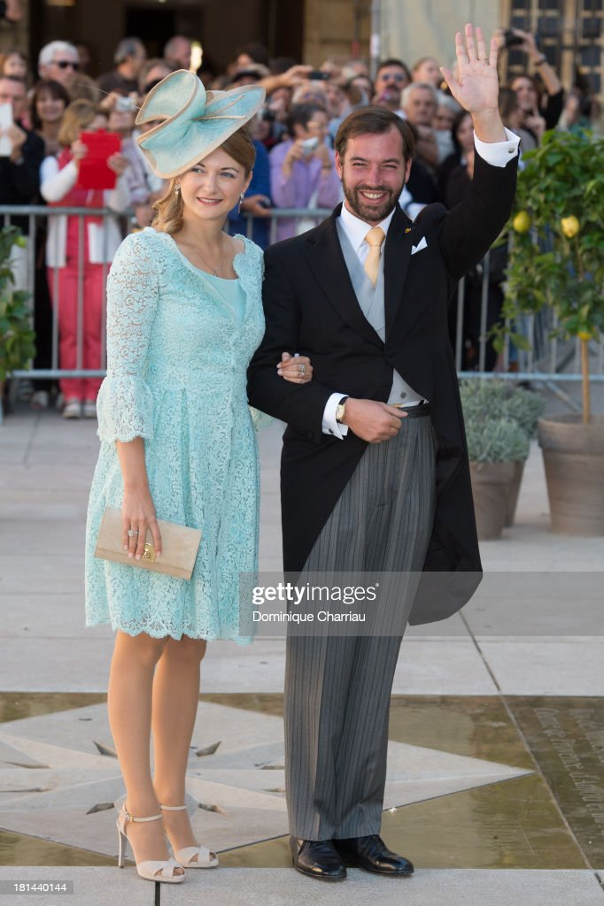 Prince Guillaume Of Luxembourg and Princess Stephanie Of Luxembourg attend the Religious Wedding Of Prince Felix Of Luxembourg & Claire Lademacher at Basilique Sainte Marie-Madeleine on September 21, 2013 in Saint-Maximin-La-Sainte-Baume, France.