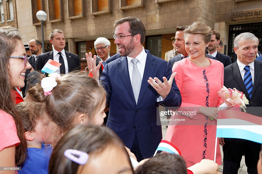 Prince Guillaume of Luxembourg and Princess Stephanie of Luxembourg visit Esch on June 21, 2016 for National Day, Luxembourg.