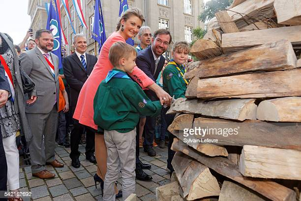 Prince Guillaume of Luxembourg and Princess Stephanie of Luxembourg visit Esch on June 21 2016 for National Day Luxembourg