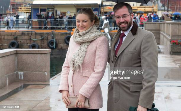 Prince Guillaume of Luxembourg and Princess Stephanie of Luxembourg attend a lunch on the Norwegian Royal yatch Norge to celebrate the 80th birthdays...