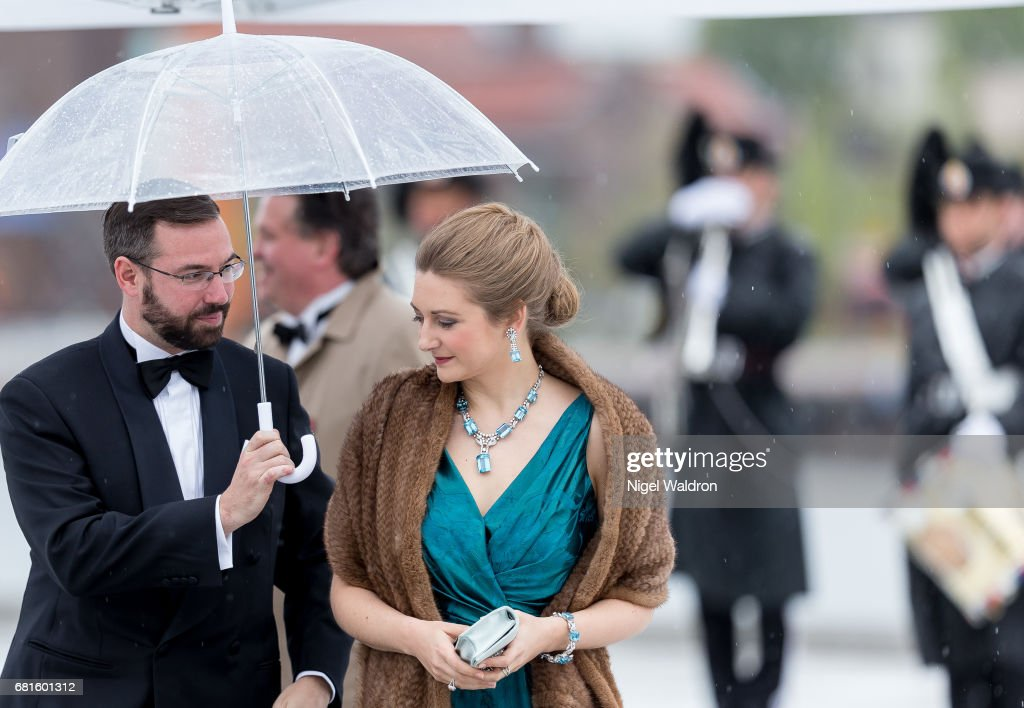 Prince Guillaume of Luxembourg and Princess Stephanie of Luxembourg arrives at the Opera House on the occasion of the celebration of King Harald and Queen Sonja of Norway 80th birthdays on May 10, 2017 in Oslo, Norway.