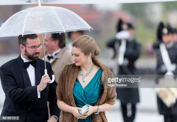 Prince Guillaume of Luxembourg and Princess Stephanie of Luxembourg arrives at the Opera House on the occasion of the celebration of King Harald and...