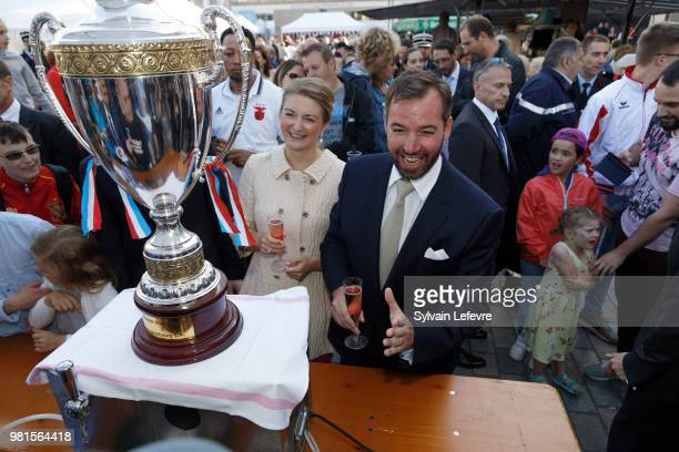 Prince Guillaume of Luxembourg and Princess Stephanie of Luxembourg visit Esch-sur-Alzette for National Day on June 22, 2018 in Luxembourg,...