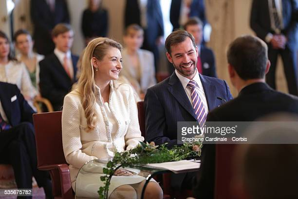 Prince Guillaume of Luxembourg and Stephanie de Lannoy during the civil ceremony of their Wedding at the Hotel De Ville , in Luxembourg.