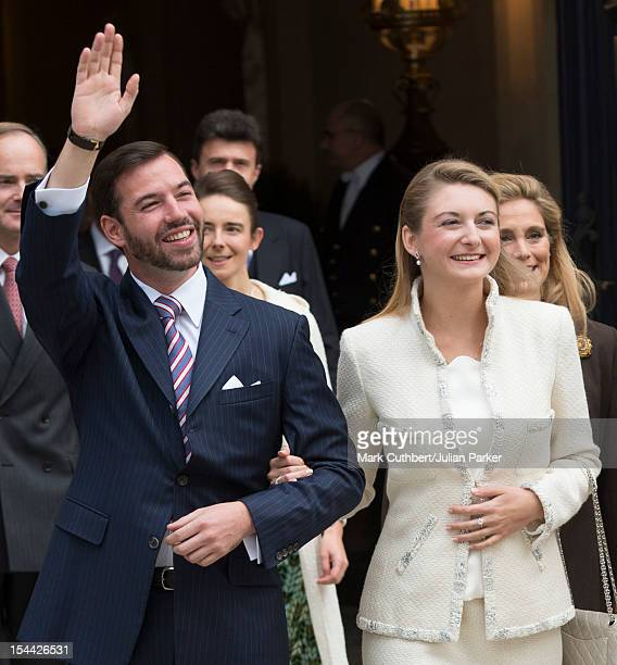 Prince Guillaume Of Luxembourg and Stephanie de Lannoy leave the Royal Palace for their civil ceremony at the Hotel De Ville on October 19 2012 in...
