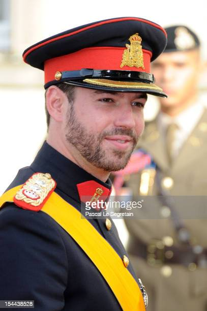 Prince Guillaume Of Luxembourg arrives at the wedding ceremony of Prince Guillaume Of Luxembourg and Princess Stephanie of Luxembourg at the...