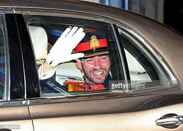 Prince Guillaume Of Luxembourg departs from the GrandDucal Palace for the wedding ceremony of Prince Guillaume Of Luxembourg and Princess Stephanie...
