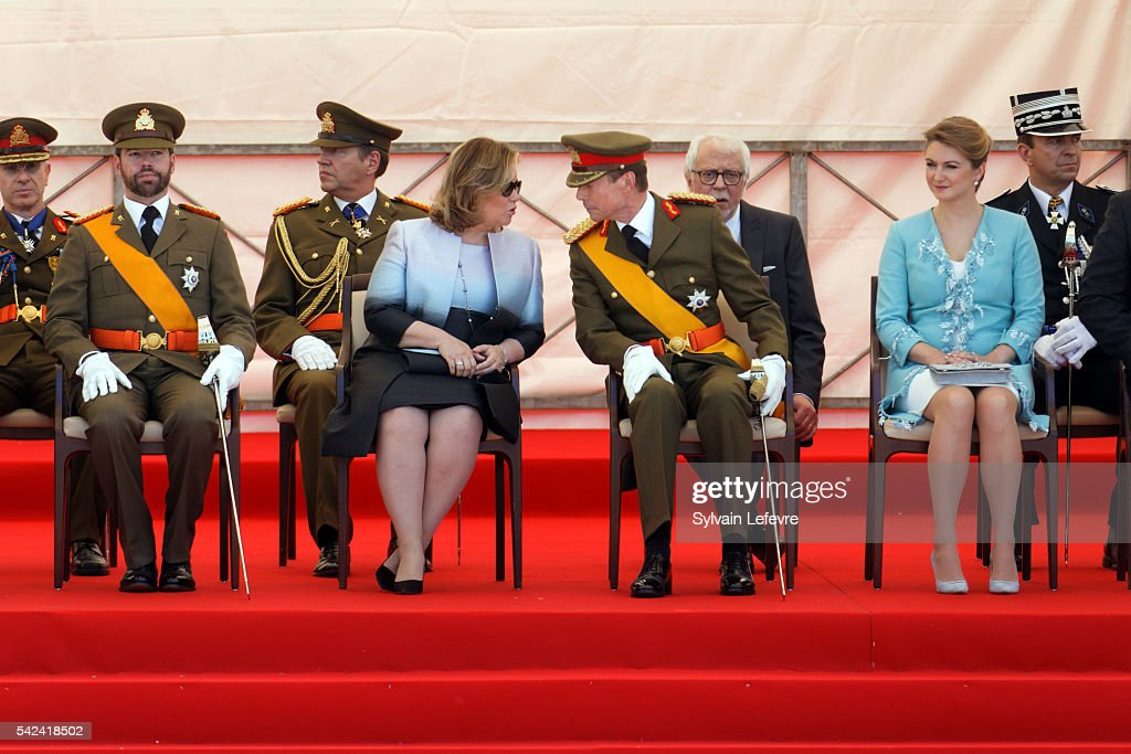 Prince Guillaume of Luxembourg, Grand Duchess Maria Teresa, Grand Duke Henri of Luxembourg and Princess Stephanie of Luxembourg during the Military parade for celebration of National Day 2 at Philarmonie on June 23, 2016 in Luxembourg, Luxembourg.