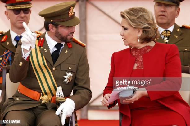 Prince Guillaume of Luxembourg Grand Duchess Maria Teresa of Luxembourg attend National Day parade on June 23 2017 in Luxembourg Luxembourg