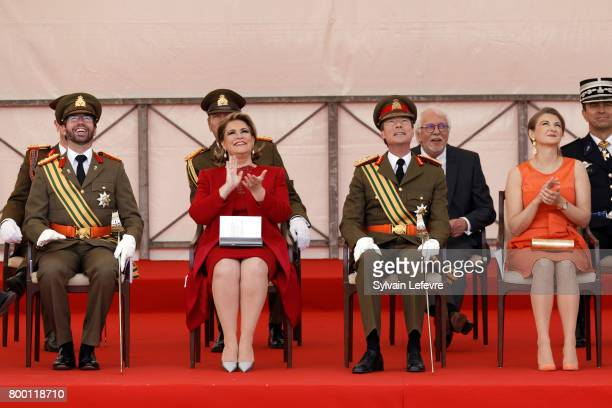 Prince Guillaume of Luxembourg, Grand Duchess Maria Teresa of Luxembourg, Grand Duke Henri of Luxembourg and Princess Stephanie attend National Day...