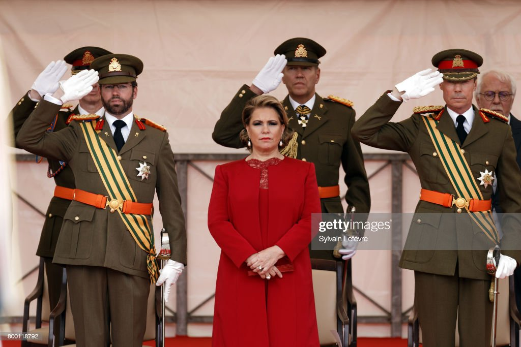 Prince Guillaume of Luxembourg, Grand Duchess Maria Teresa of Luxembourg, Grand Duke Henri of Luxembourg attend National Day parade on June 23, 2017 in Luxembourg, Luxembourg.