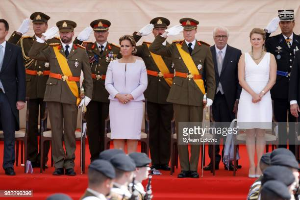 Prince Guillaume of Luxembourg Grand Duchess Maria Teresa of Luxembourg Grand Duke Henri of Luxembourg Princess Stephanie attend National Day parade...