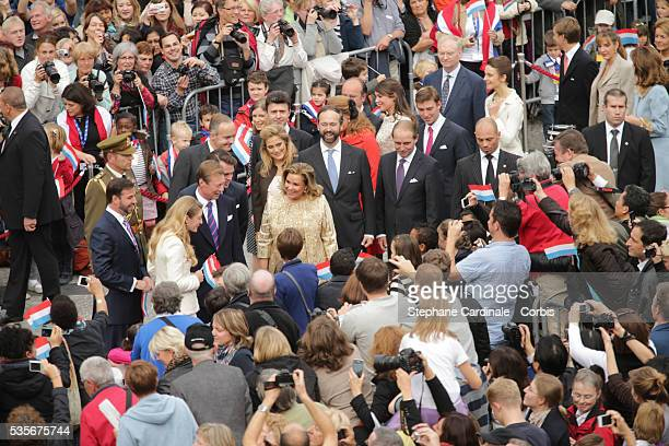 Prince Guillaume of Luxembourg, Stephanie of Luxembourg, Grand-Duke Henri of Luxembourg, Grand-Duchess Maria Teresa of Luxembourg and their family...