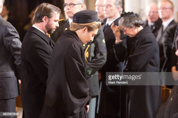 Prince Guillome and Princess Stephanie of Luxembourg attend the funeral of Queen Fabiola at Notre Dame Church on December 12, 2014 in Laeken, Belgium.