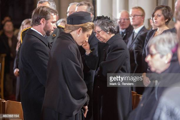 Prince Guillome and Princess Stephanie of Luxembourg attend the funeral of Queen Fabiola of Belgium at Notre Dame Church on December 12 2014 in...