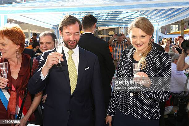 Prince Guillome and Princess Stephanie of Luxembourg visit the town EschsurAlzette on June 22 2014 in Luxembourg Luxembourg