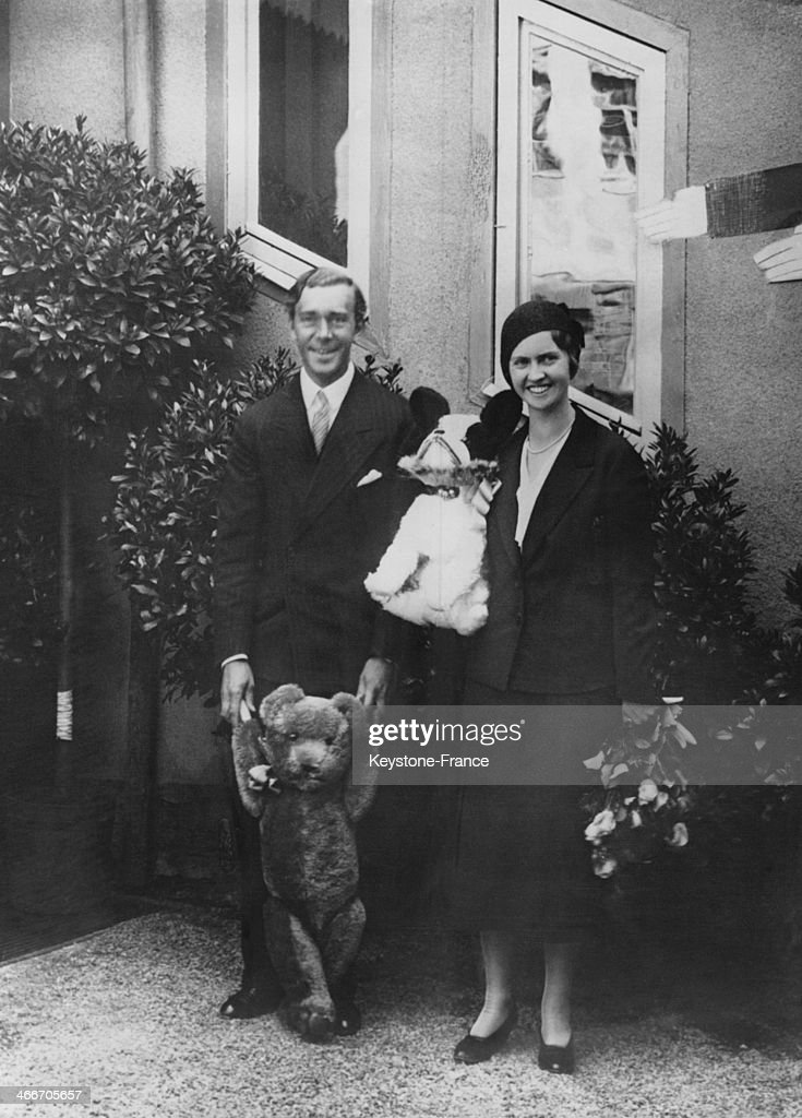 Prince Gustaf Adolf of Sweden and his wife- to- be Princess Sibylla visited the Doll's town of Neustadt and are shown with tax products on September 15, 1932 in Neustadt, Germany.