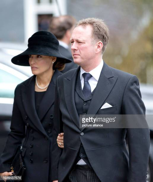 Prince Gustav and Carina Axelsson arrive at the Evangelische Stadtkirche in Bad Berleburg on March 21 to attend HH Prince Richard_s zu Sayn...