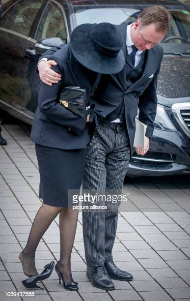 Prince Gustav and Carina Axelsson attend the funeral service of Prince Richard zu SaynWittgensteinBerleburg at the Evangelische Stadtkirche in Bad...