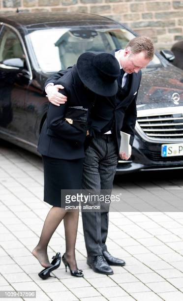 Prince Gustav and Carina Axelsson leave at the Evangelische Stadtkirche in Bad Berleburg on March 21 after attending HH Prince Richard_s zu Sayn...