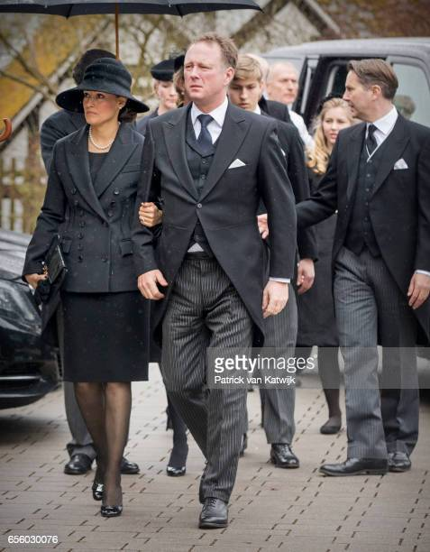 Prince Gustav zu SaynWittgensteinBerleburg and Carina Axelsson attend the funeral service of Prince Richard zu SaynWittgensteinBerleburg at the...