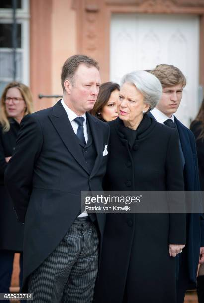 Prince Gustav zu SaynWittgensteinBerleburg and Princess Benedikte of Denmark attend the funeral service of Prince Richard zu...