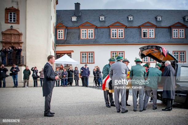 Prince Gustav zu SaynWittgensteinBerleburg watches the guard of honor loading the casket into the funeral car at the funeral service of Prince...