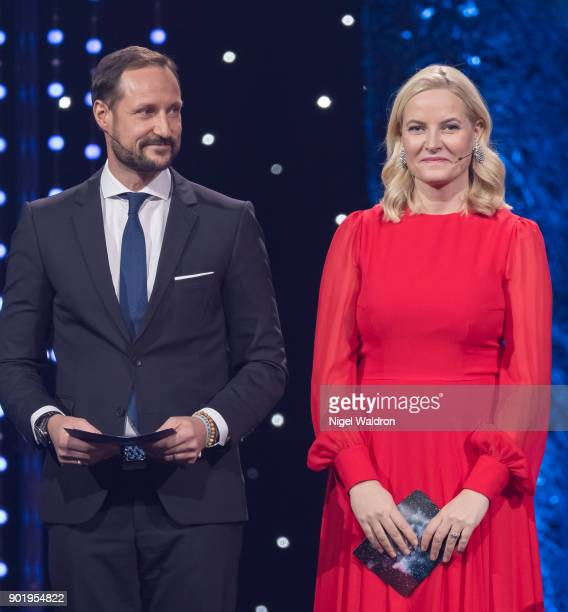 Prince Haakon Magnus of Norway and Princess Mette Marit of Norway announce the winner of the category for this years biggest driving force Terje Vag...