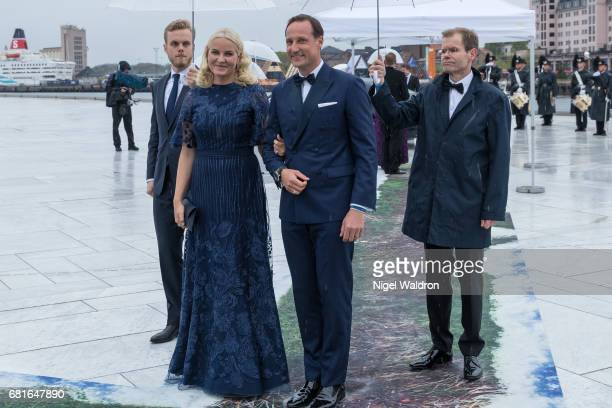 Prince Haakon of Norway and Princess Mette Marit of Norway arrives at the Opera House on the occasion of the celebration of King Harald and Queen...