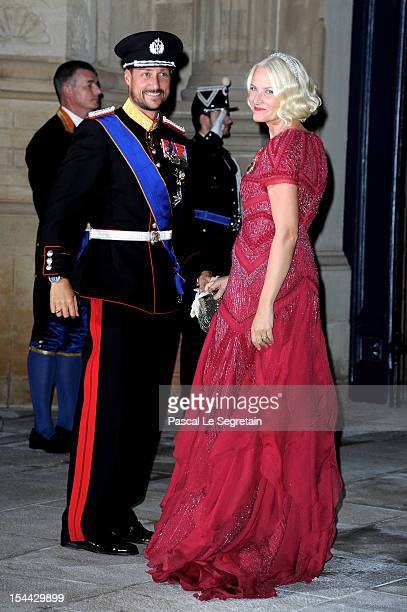 Prince Haakon of Norway and Princess MetteMarit of Norway attend the Gala dinner for the wedding of Prince Guillaume Of Luxembourg and Stephanie de...