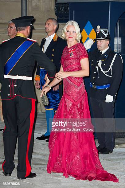 Prince Haakon of Norway and Princess Mette-Marit of Norway attend the Gala dinner for the wedding of Prince Guillaume of Luxembourg and Stephanie de...