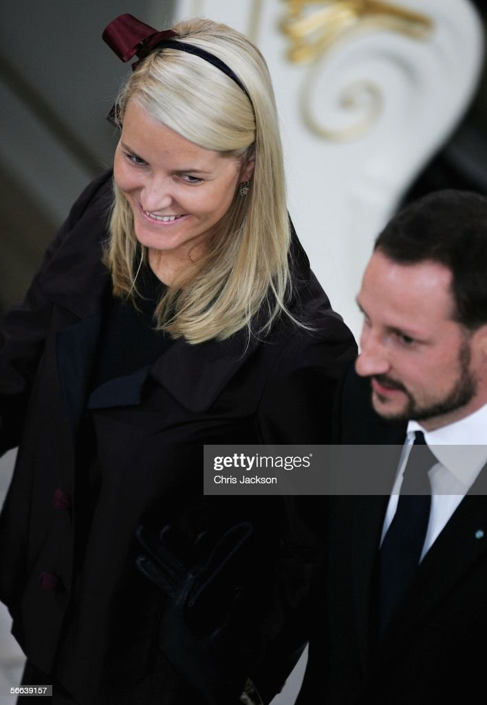 Prince Haakon of Norway and Princess Mette-Marit of Norway look on during the Royal Christening of Prince Christian, son of TRH Crown Prince Frederik of Denmark and Crown Princess Mary of Denmark, at Christiansborg Palace Church on January 21, 2006 in Copenhagen, Denmark. The new Prince was born on October 14, 2005 at Copenhagen University Hospital and is the first child for the Royal couple.