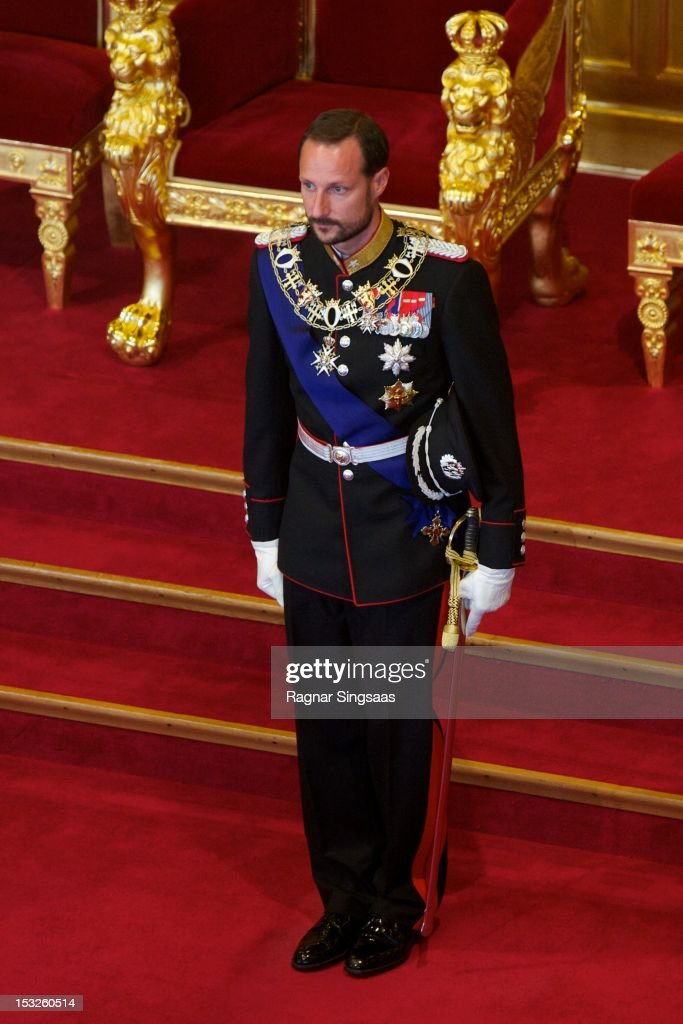 Prince Haakon of Norway attends the opening of the 157th Storting on October 2, 2012 in Oslo, Norway.