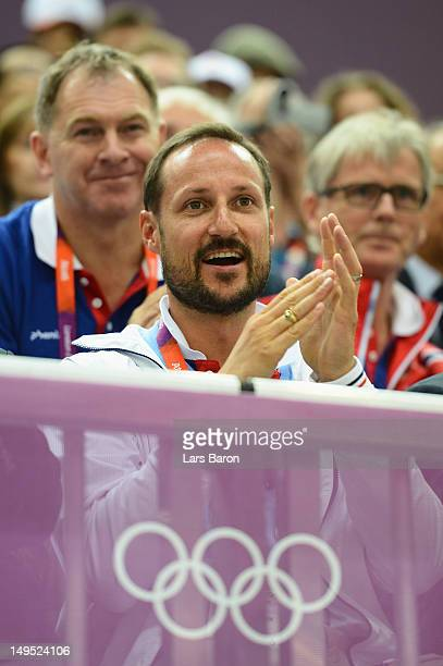 Prince Haakon of Norway enjoys the atmosphere during the Men's 10m Air Rifle final on Day 3 of the London 2012 Olympic Games at The Royal Artillery...