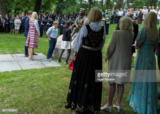 Prince Haakon of Norway, Princess Mette Marit of Norway, Prince Sverre Magnus of Norway and Maud Angelica Behn of Norway at the unveiling of...