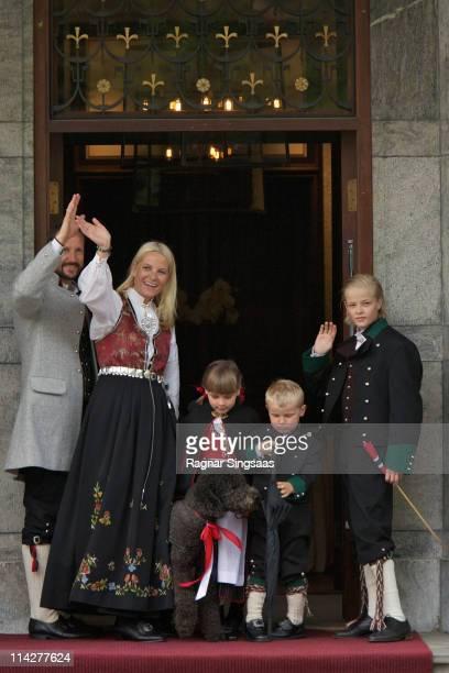 Prince Haakon of Norway, Princess Mette-Marit of Norway, Princess Ingrid Alexandra of Norway, Prince Sverre Magnus of Norway, Marius Borg Hoiby and...