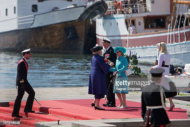 Prince Haakon of Norway Queen Beatrix of the Netherlands King Harald V of Norway Queen Sonja of Norway and Princess MetteMarit of Norway attend a...