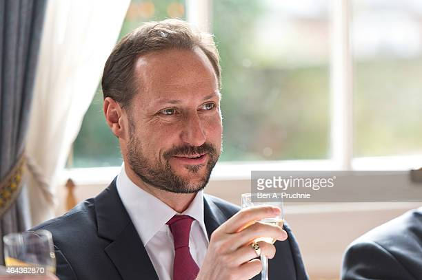 Prince Haakon Of Norway visits the Norwegian Embassy for a luncheon during a visit to London on February 25 2015 in London England