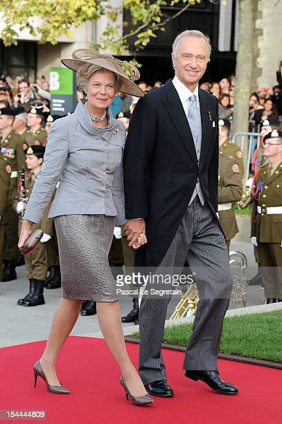 Prince HansAdam II and Princess Marie of Liechtenstein attend the wedding ceremony of Prince Guillaume Of Luxembourg and Princess Stephanie of...