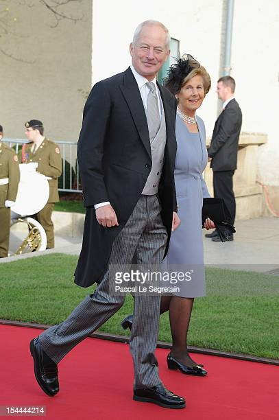 Prince HansAdam II and Princess MarieAglae of Liechtenstein attend the wedding ceremony of Prince Guillaume Of Luxembourg and Princess Stephanie of...