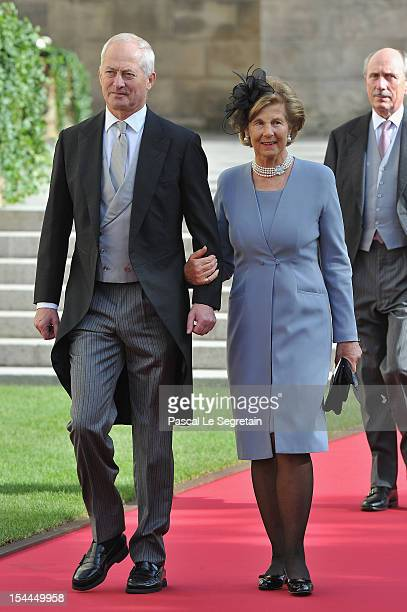 Prince HansAdam II of Liechtenstein and Princess MarieAglae of Liechtenstein attends the wedding ceremony of Prince Guillaume Of Luxembourg and...