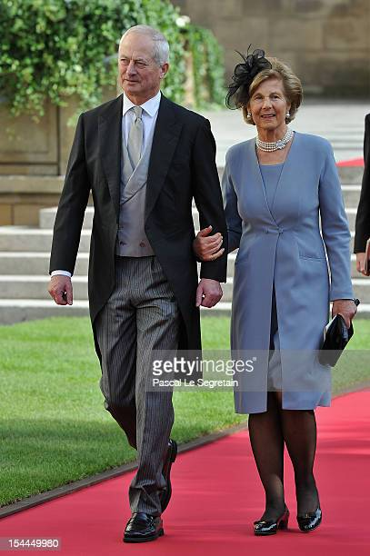 Prince Hans-Adam II of Liechtenstein and Princess Marie-Aglae of Liechtenstein attends the wedding ceremony of Prince Guillaume Of Luxembourg and...